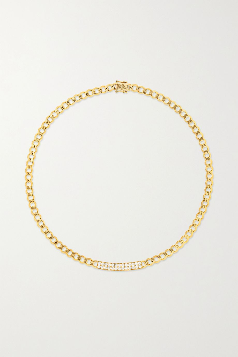 Sydney Evan ID Bar 14-karat gold diamond necklace