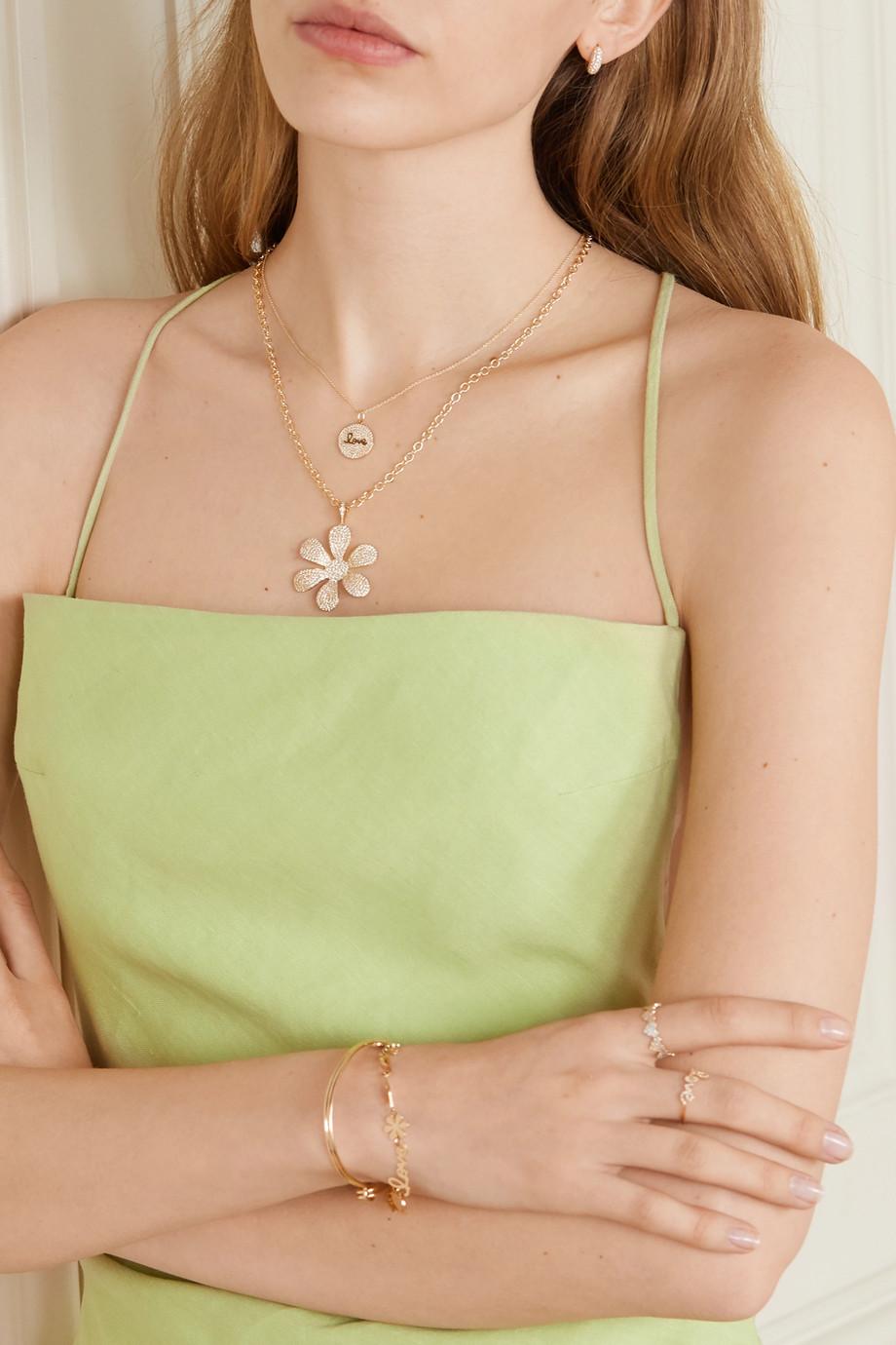 Sydney Evan Daisy 14-karat gold diamond necklace