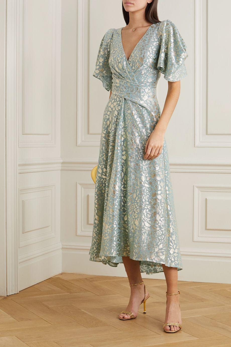 Talbot Runhof Solfeggio leopard-jacquard voile midi dress
