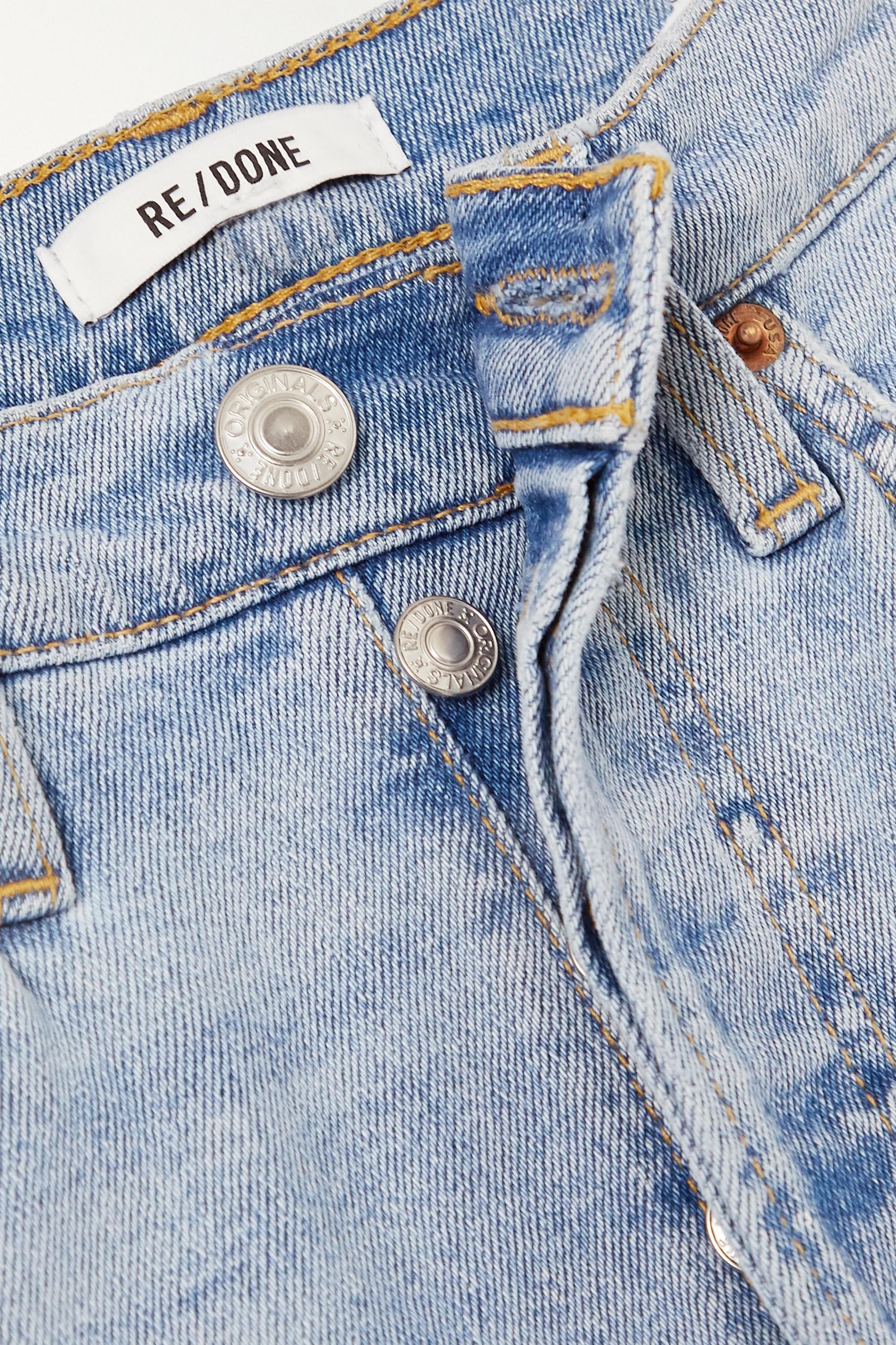 RE/DONE + Caro Daur cropped frayed high-rise slim-leg jeans
