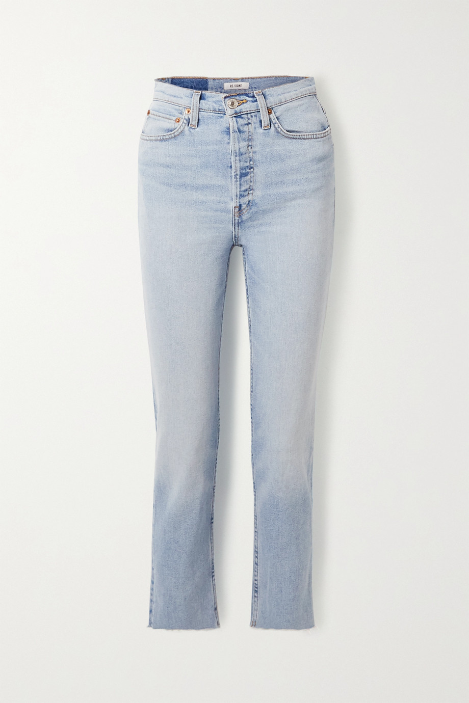 RE/DONE + Caro Daur cropped frayed high-rise slim-leg jeans