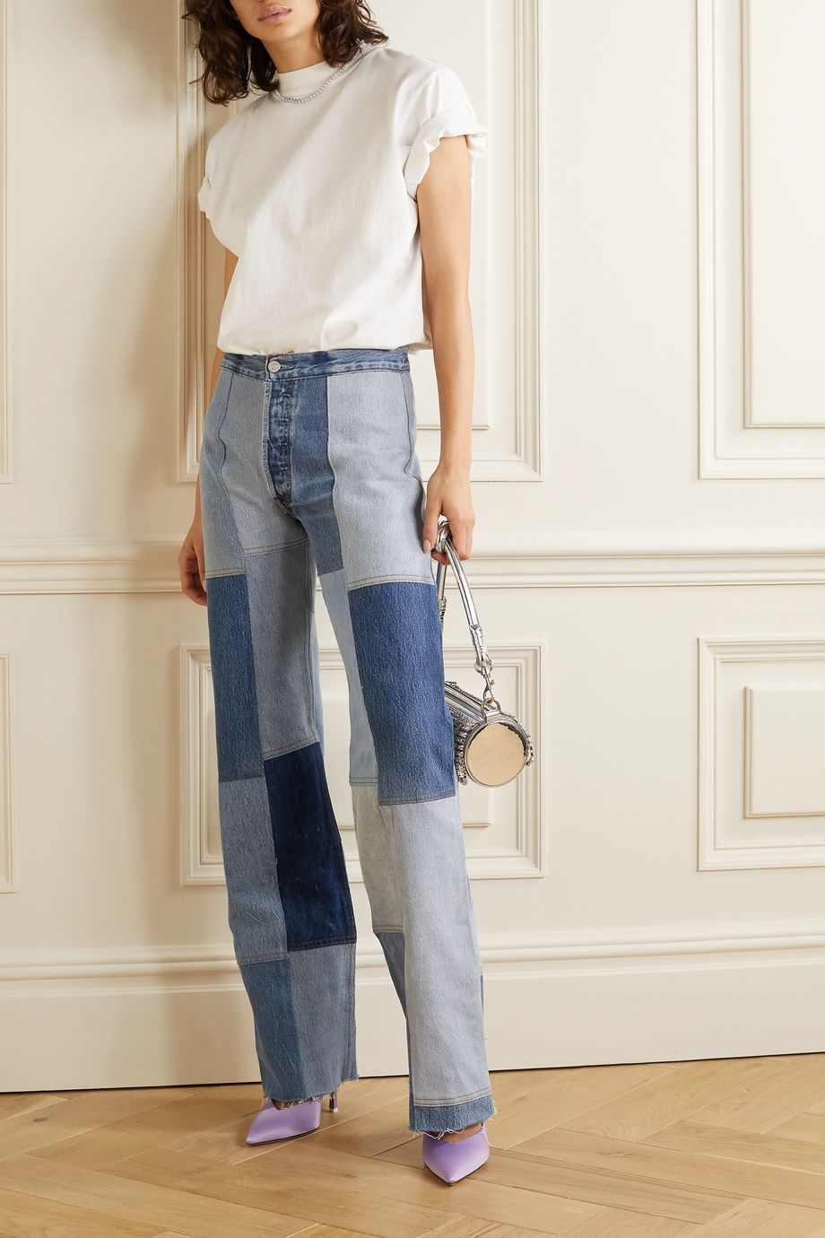RE/DONE + Amina Muaddi patchwork high-rise flared jeans