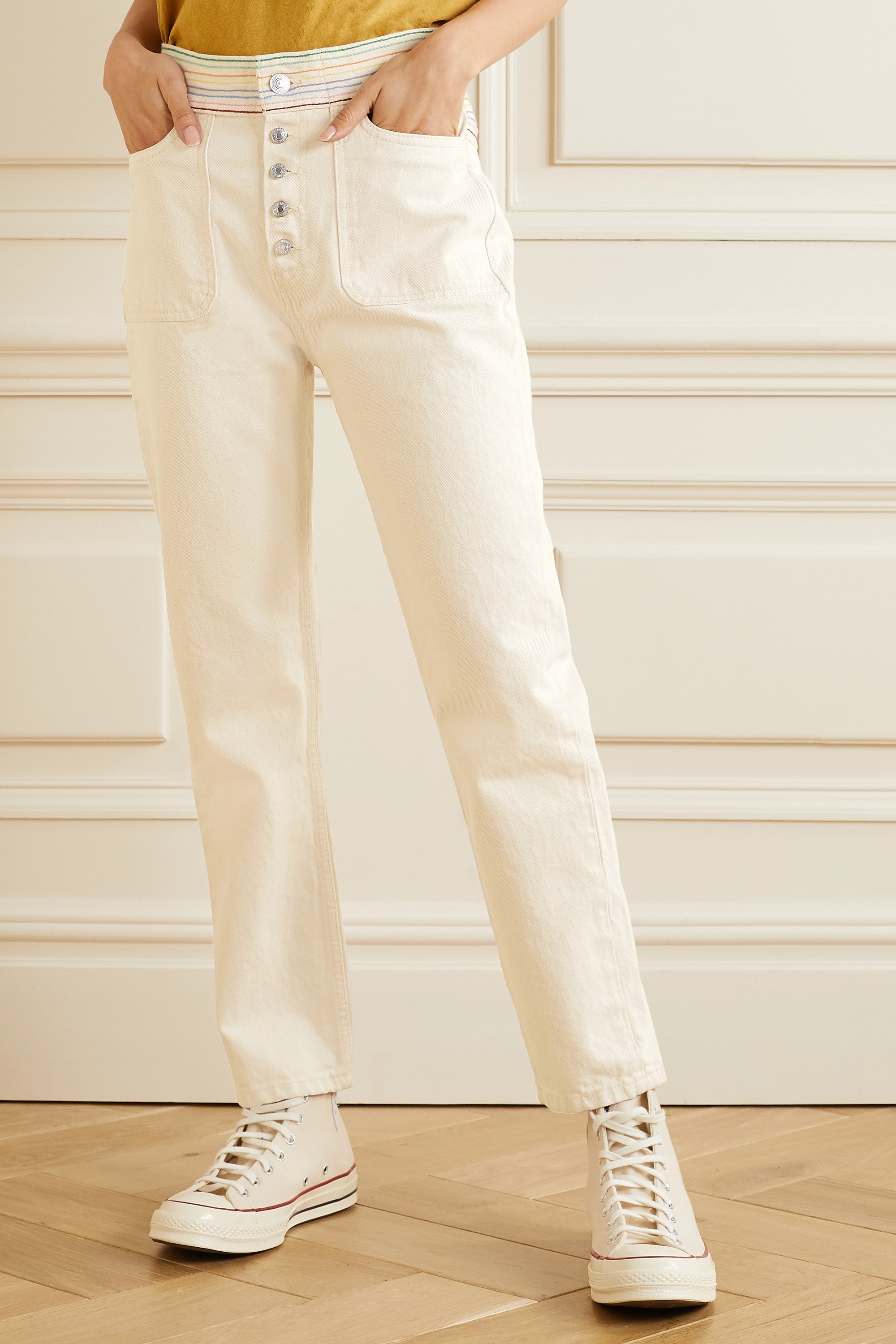 RE/DONE + Blanca Miró Stove Pipe embroidered high-rise straight-leg jeans