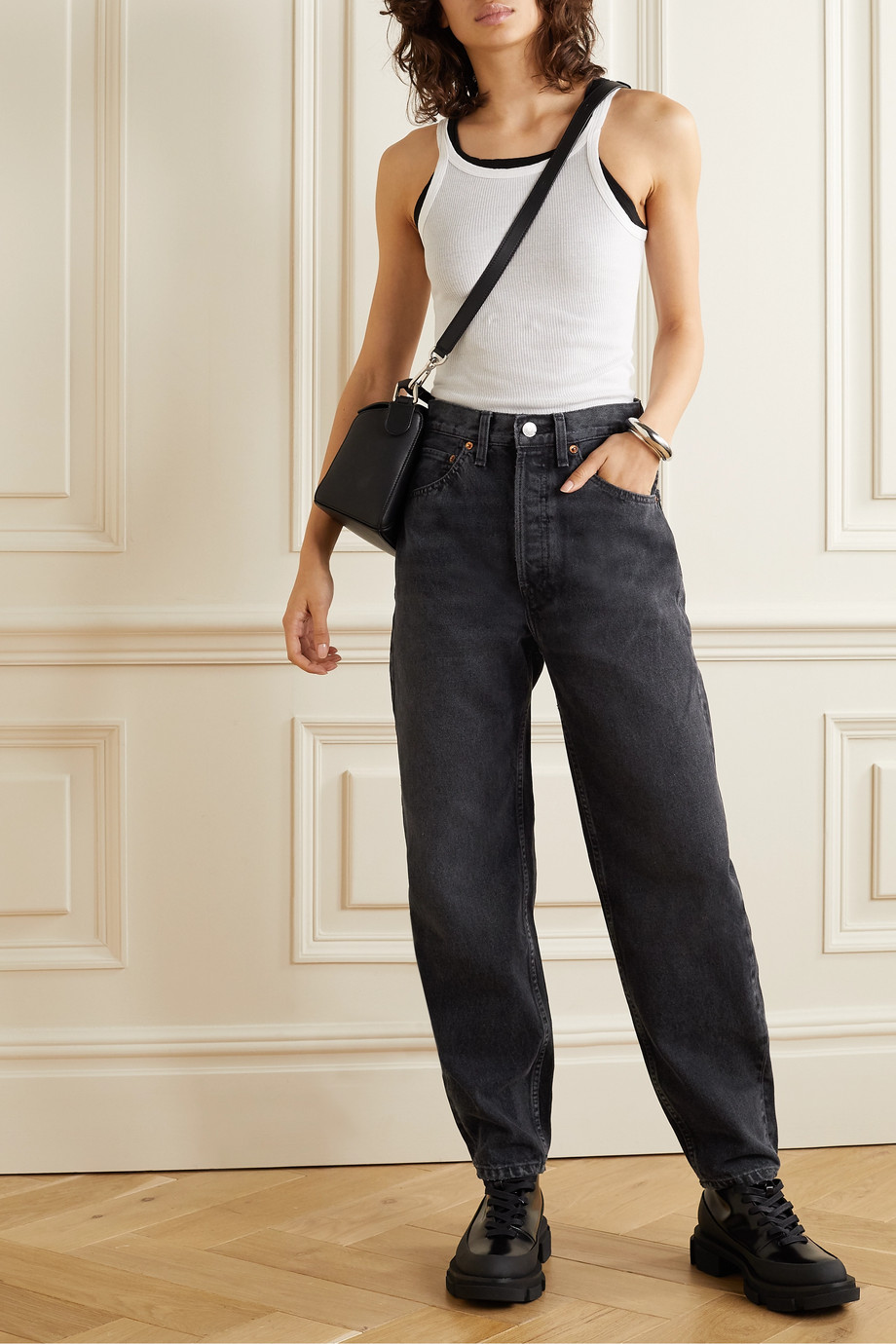 RE/DONE + Pixie Levinson distressed high-rise tapered jeans