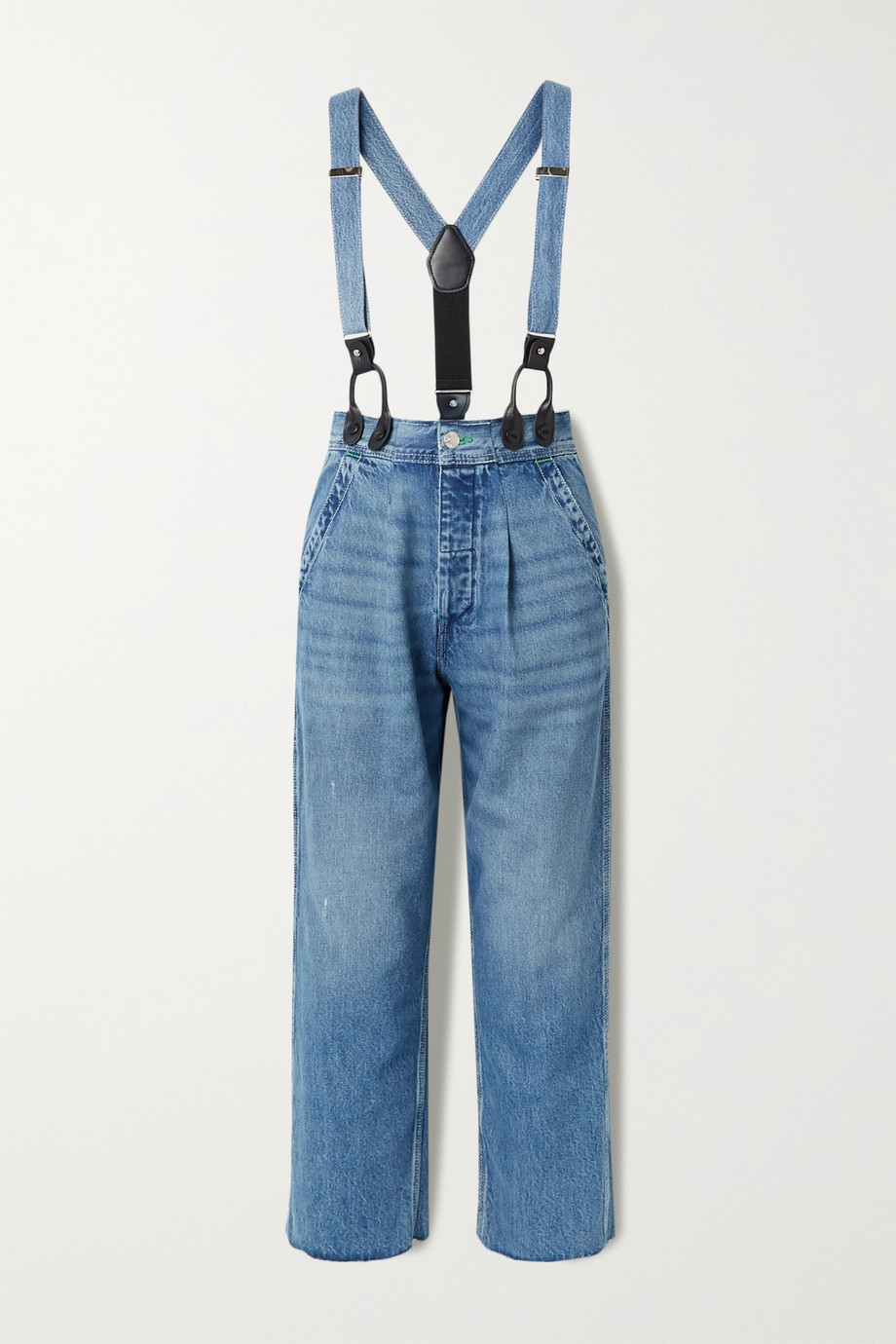 RE/DONE + Hikari Mori high-rise wide-leg jeans with braces