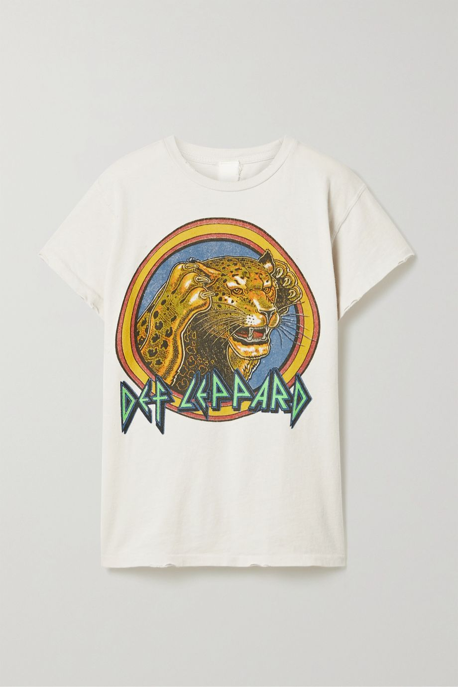 MadeWorn Def Leppard distressed printed cotton-jersey T-shirt