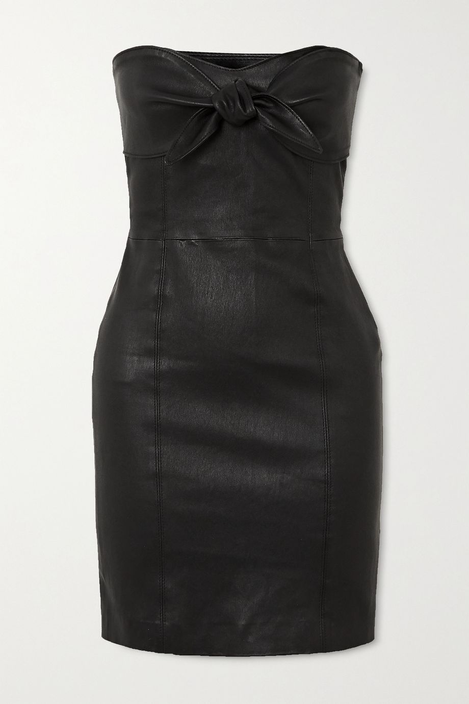 SPRWMN Strapless knotted leather mini dress