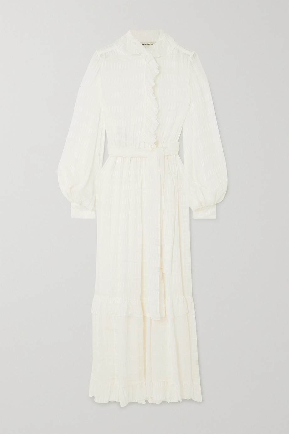 Etro Belted ruffled silk-crepon midi dress