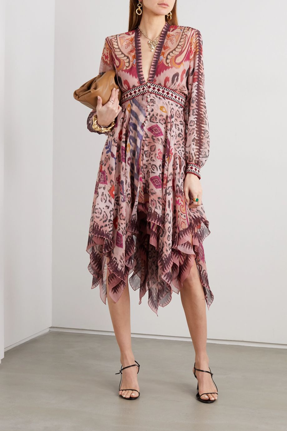 Etro Asymmetric cotton jacquard-trimmed printed silk-chiffon dress