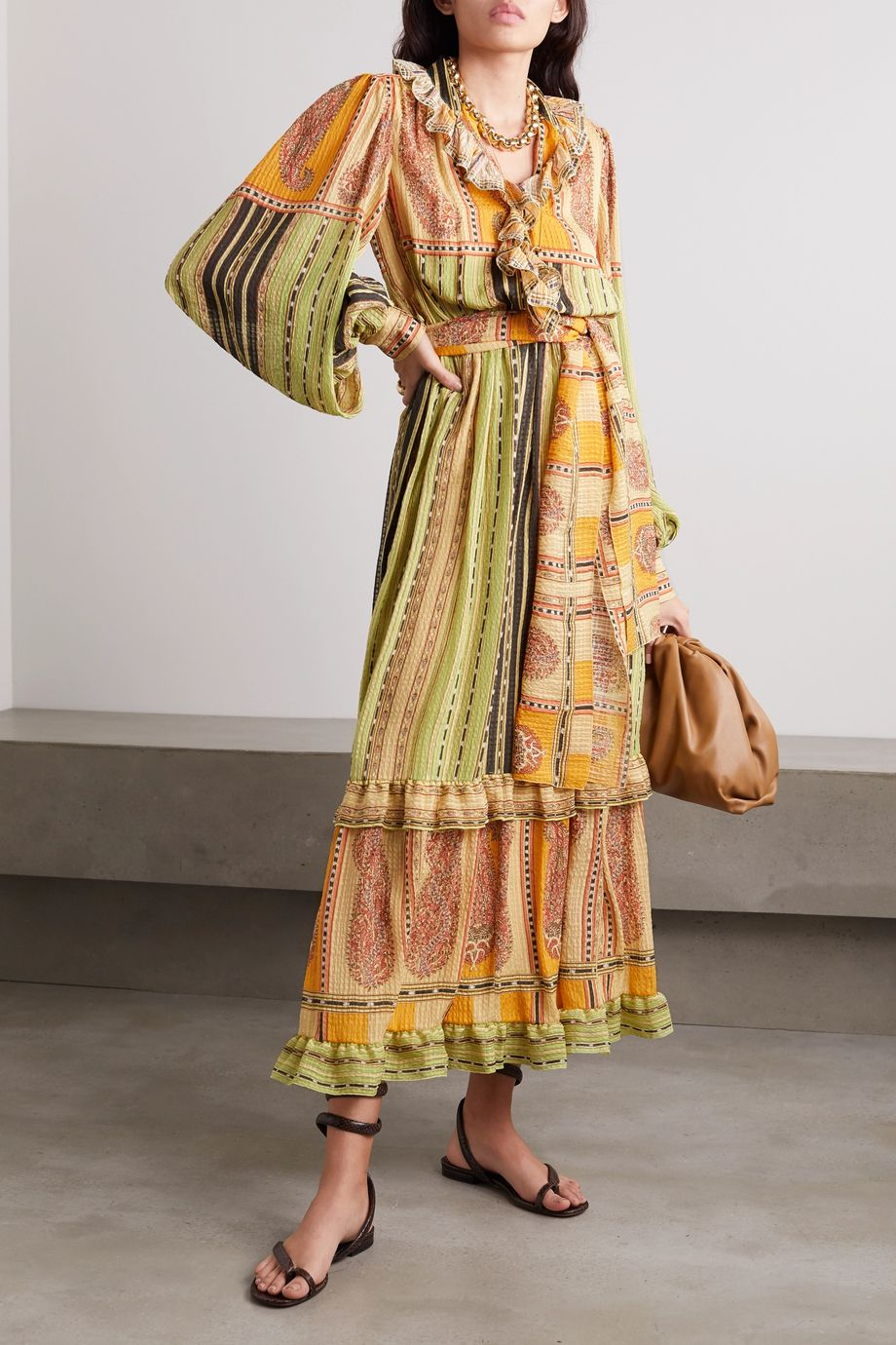 Etro Belted ruffled paisley-print silk midi dress
