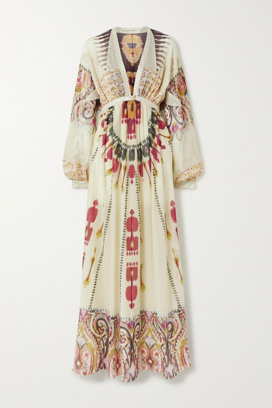 Etro Printed fil coupé silk-crepon maxi dress