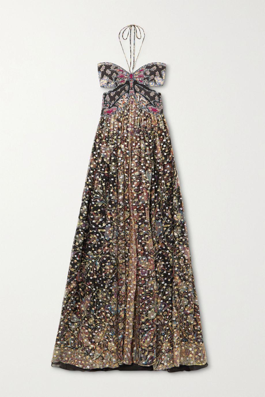 Etro Abiti backless printed fil coupé silk-chiffon halterneck gown