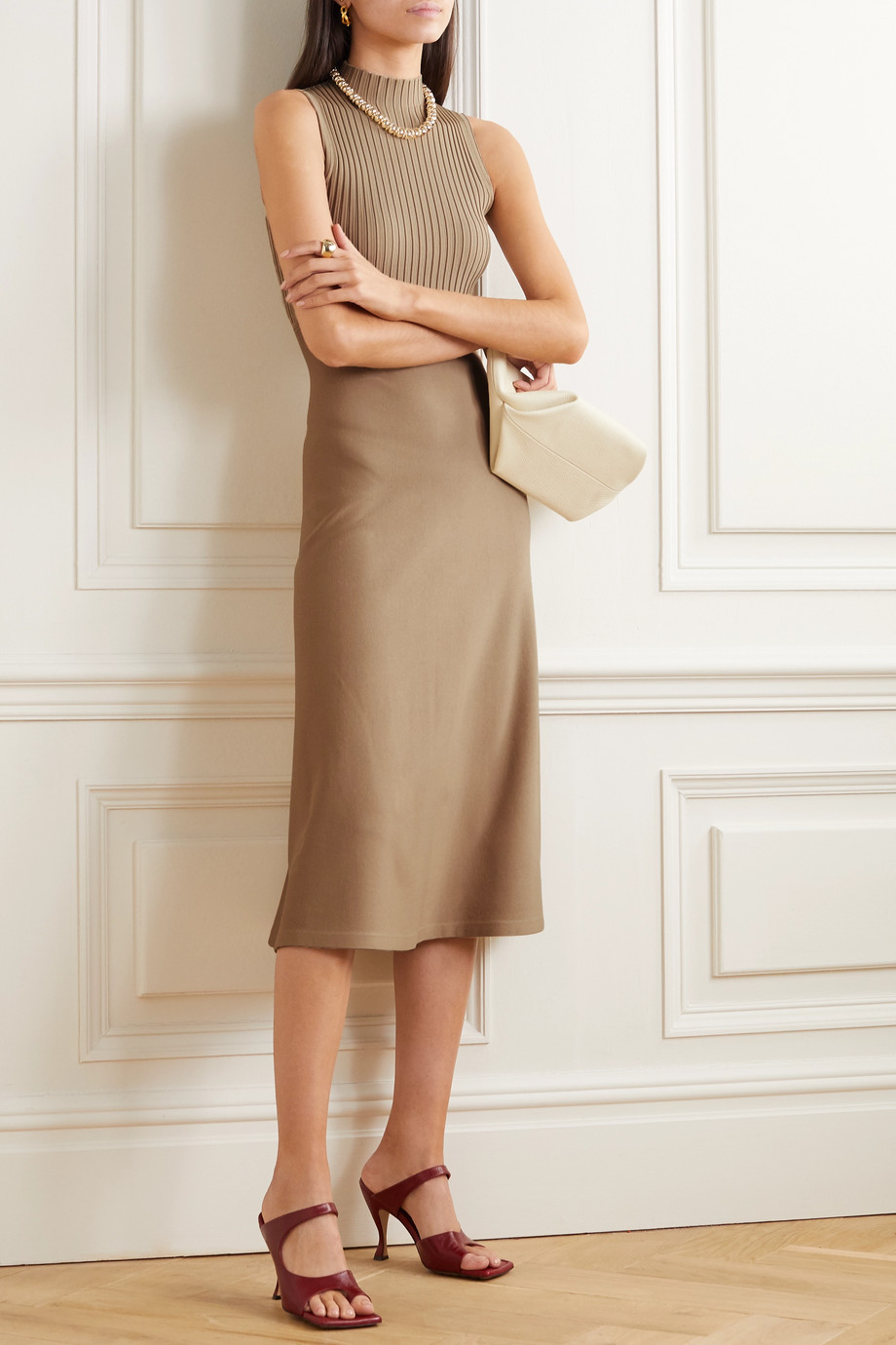 Theory Ribbed stretch-knit midi dress