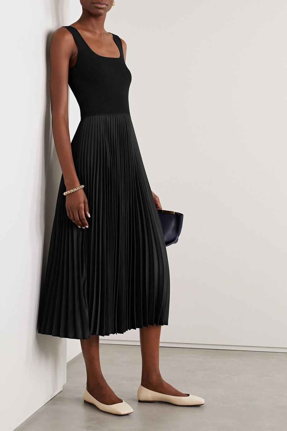 Theory Ribbed-knit and pleated satin-crepe midi dress