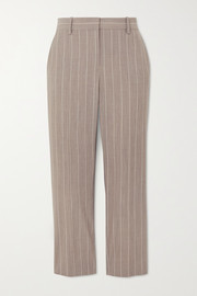 Cropped pinstriped wool-blend slim-leg pants