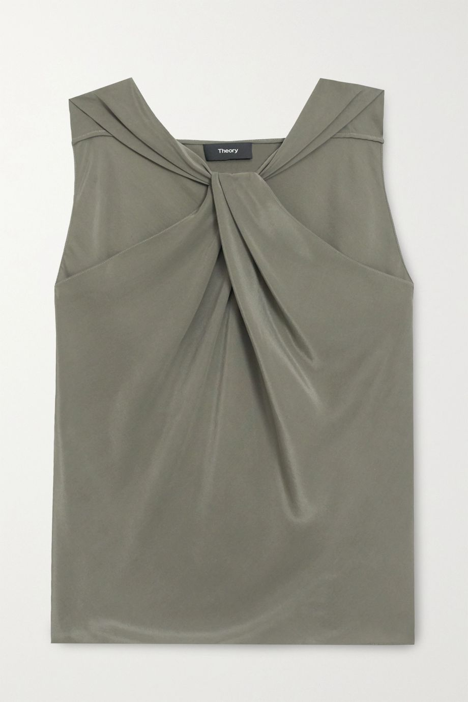 Theory Twist-front washed-silk halterneck top