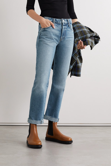 The Scrapper frayed mid-rise straight-leg jeans