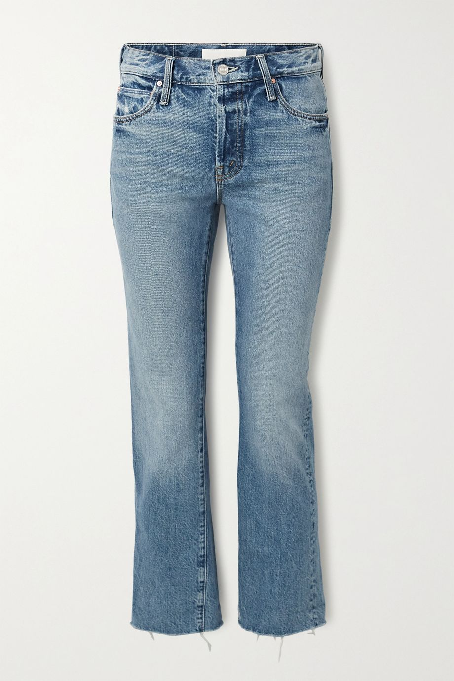 Mother The Scrapper frayed mid-rise straight-leg jeans
