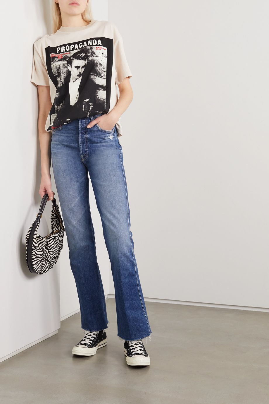 Mother The Tripper Weekender distressed high-rise flared jeans