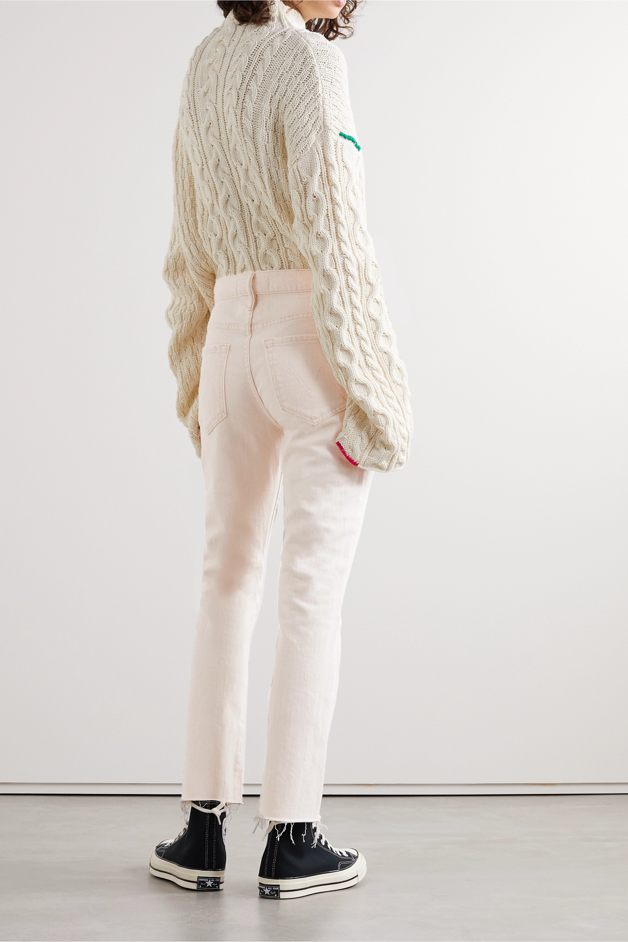 Mother The Insider frayed high-rise flared jeans
