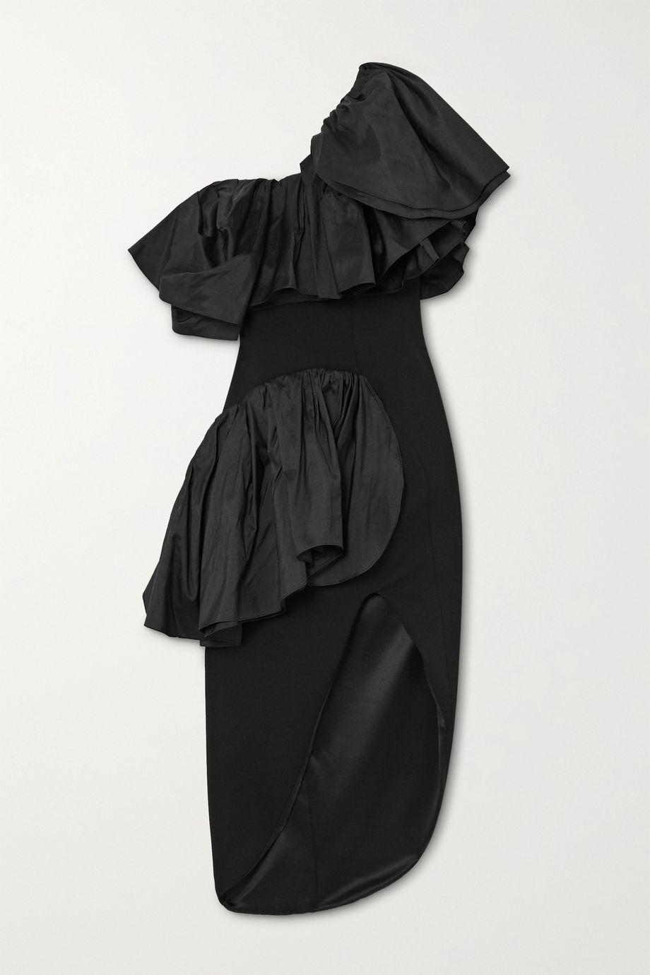 Maticevski Attentive one-shoulder ruffled taffeta and cady dress