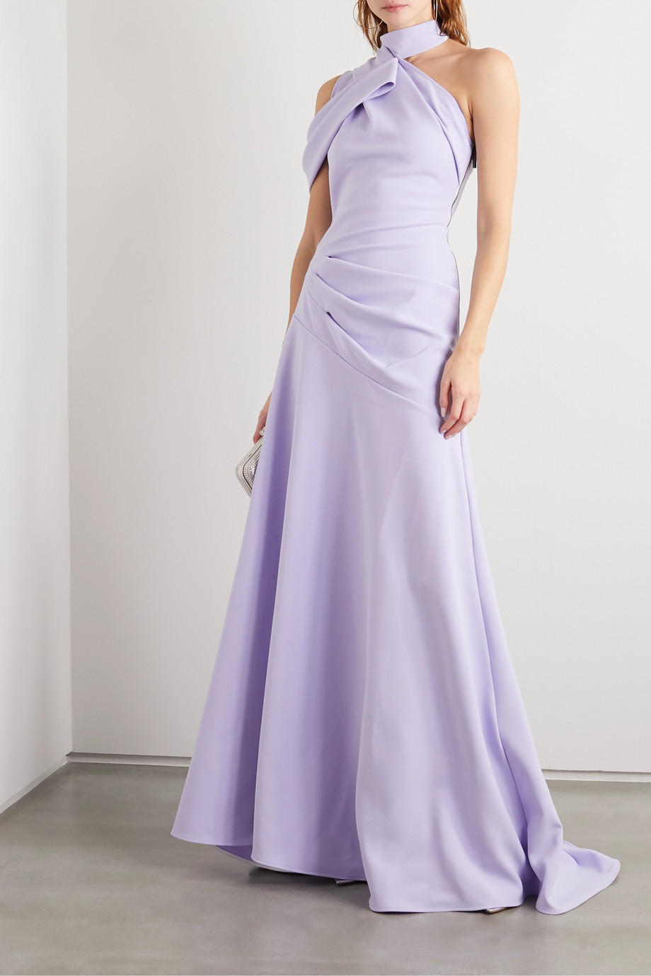 Maticevski Inclination asymmetric gathered cady gown