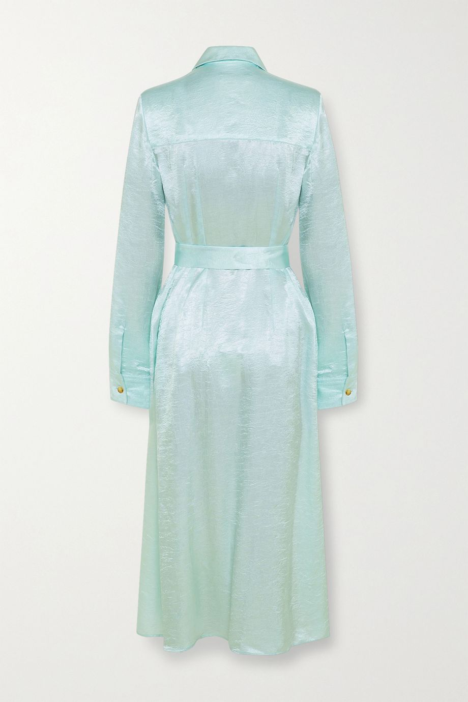 ANNA QUAN Adela 配腰带皱褶缎布中长衬衫式连衣裙