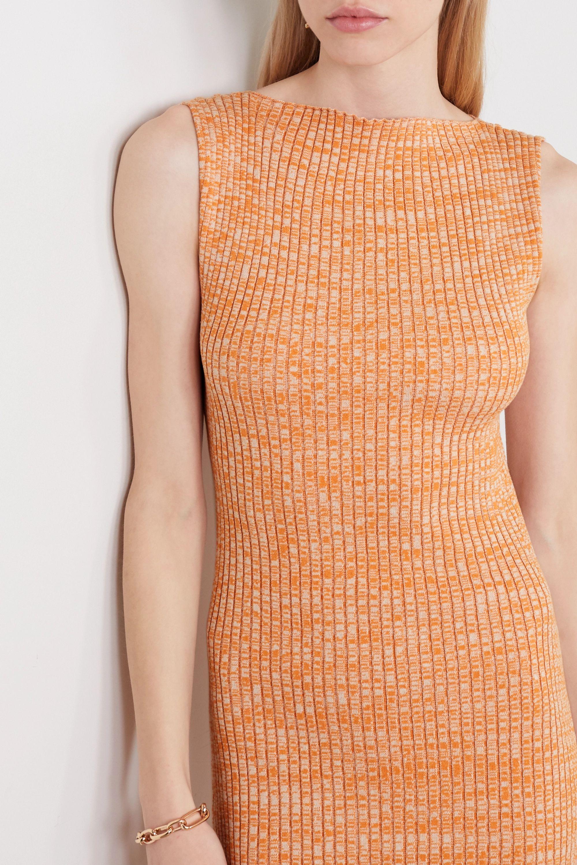 ANNA QUAN Drew ribbed mélange cotton midi dress