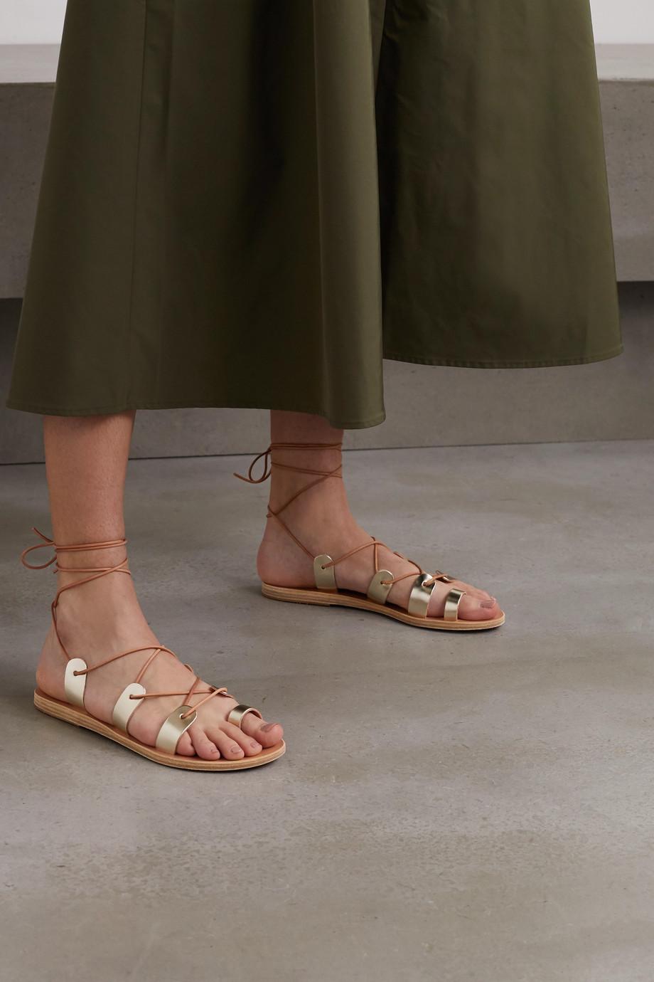 Ancient Greek Sandals Alcyone 绑带式金属感皮革凉鞋