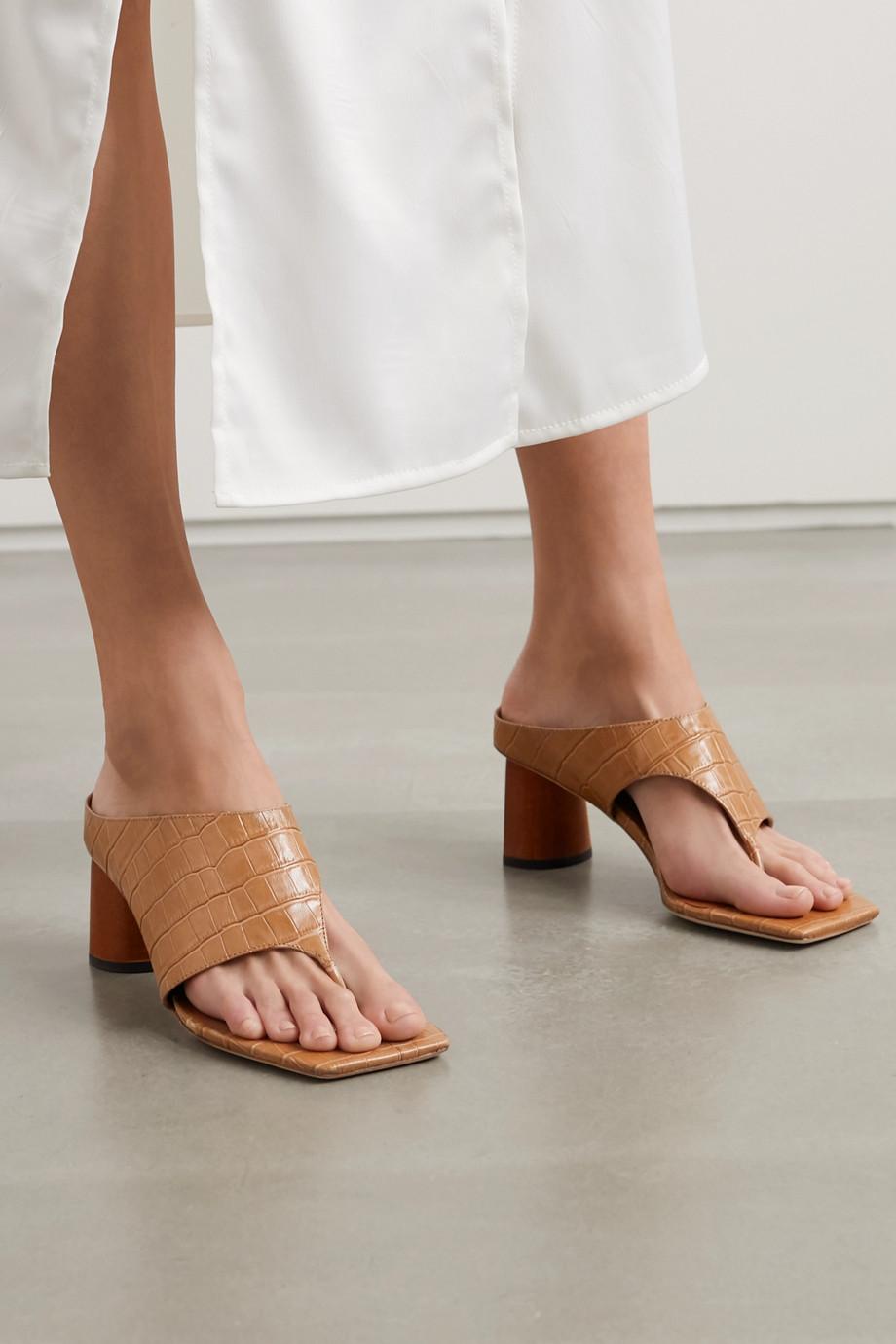 REJINA PYO Lina croc-effect leather sandals