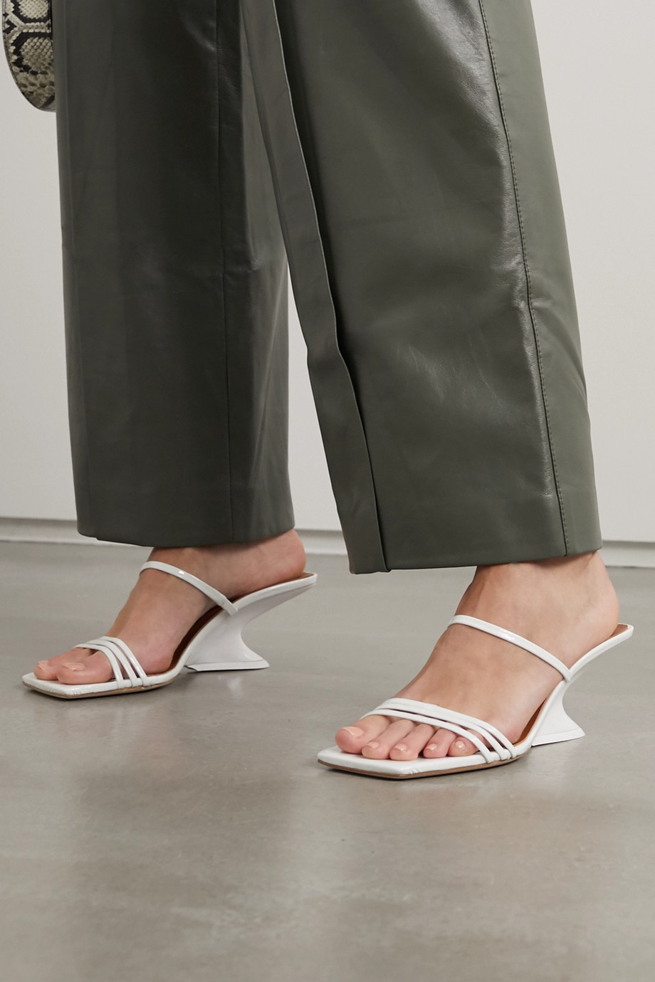 REJINA PYO Romy crinkled patent-leather mules