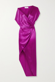 Michelle Mason Draped wrap-effect silk-satin dress