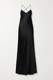 Michelle Mason Open-back crystal-embellished silk-satin gown