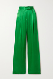 Michelle Mason Pleated silk-satin wide-leg pants