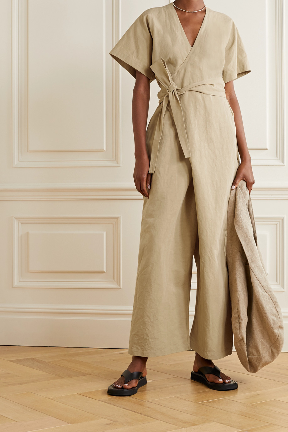 Lauren Manoogian Organic cotton and linen-blend wrap jumpsuit