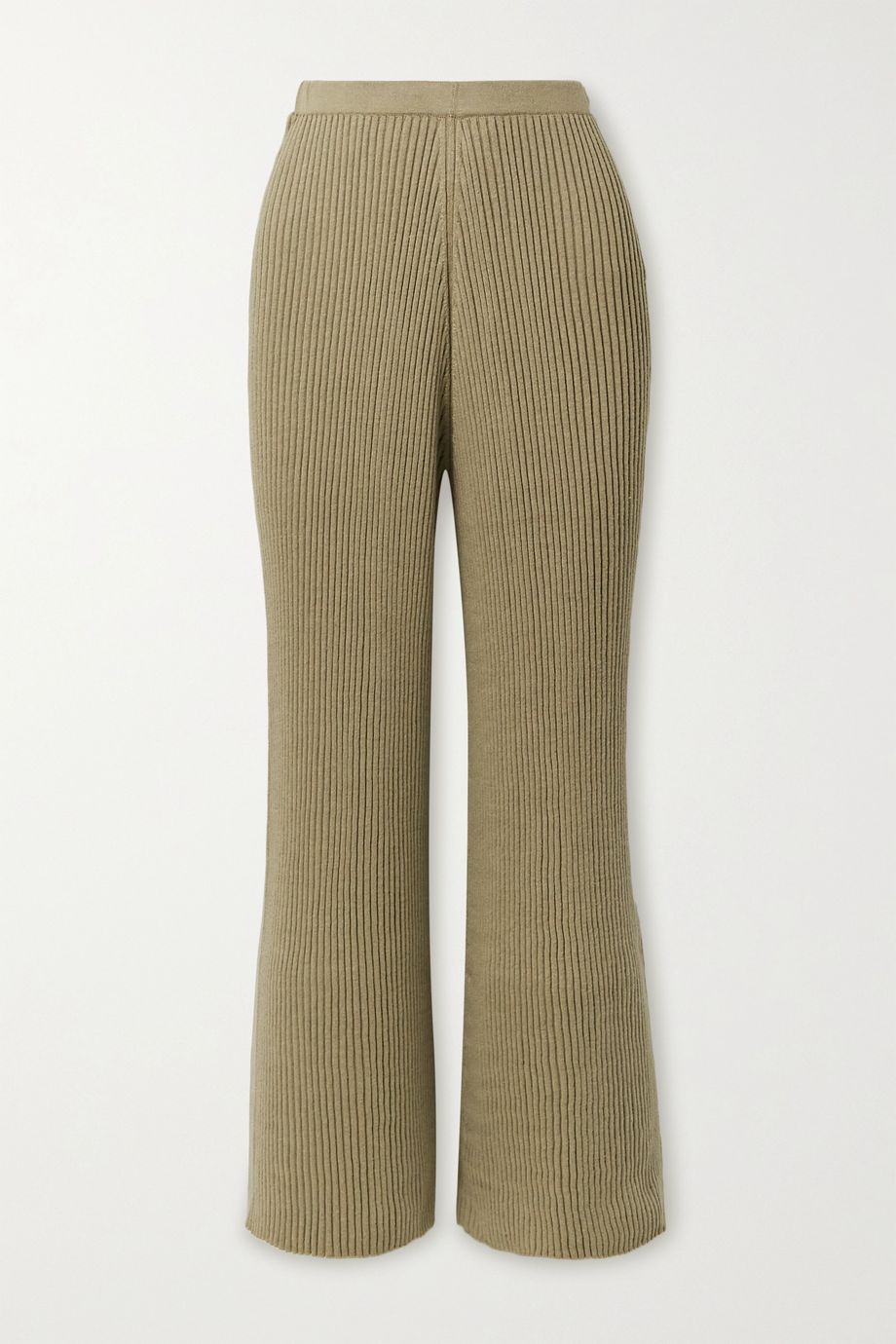 Lauren Manoogian Column ribbed organic cotton and mulberry silk-blend wide-leg pants