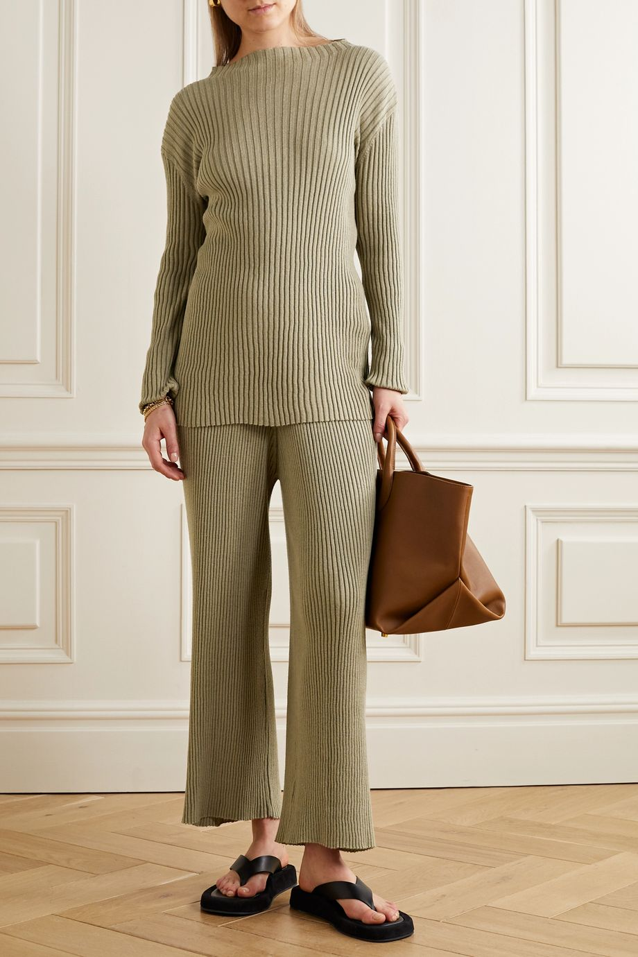 Lauren Manoogian Column ribbed organic cotton and mulberry silk-blend sweater