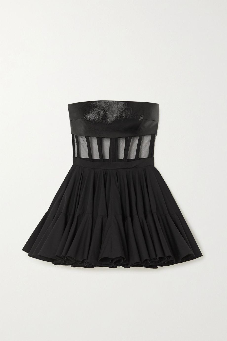 David Koma Grosgrain-trimmed leather, tulle and cotton-poplin mini dress