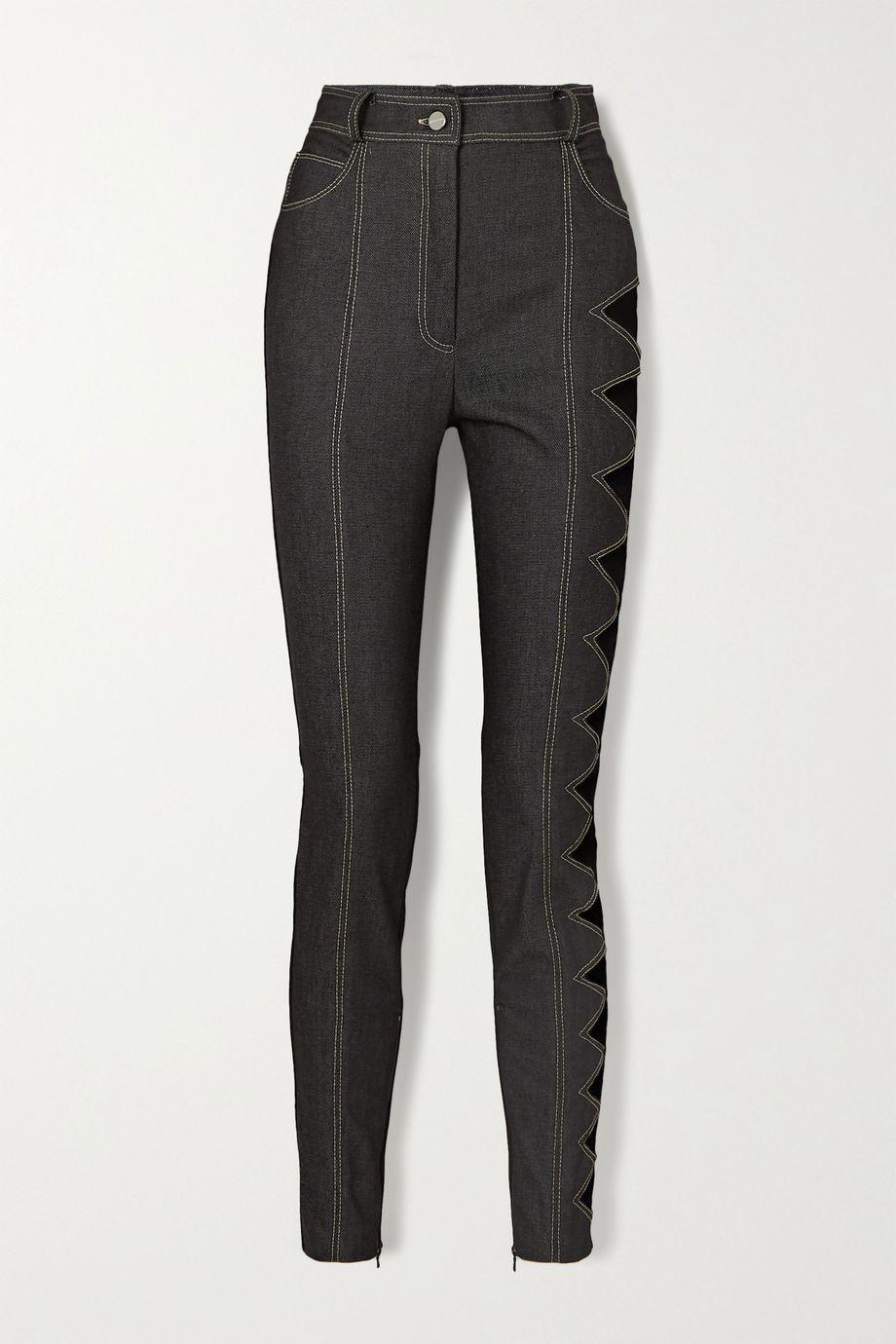 David Koma Topstitched cutout denim leggings