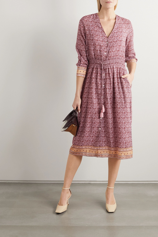 Blush Ilko Tasseled Embroidered Floral Print Voile Midi Dress Vanessa Bruno Net A Porter