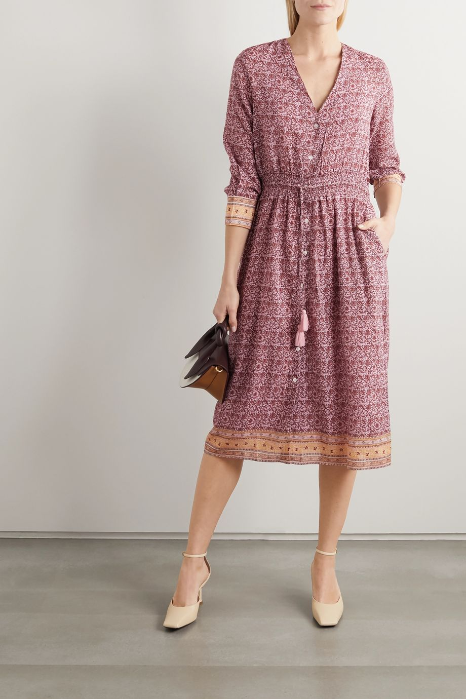 Vanessa Bruno Ilko tasseled embroidered floral-print voile midi dress