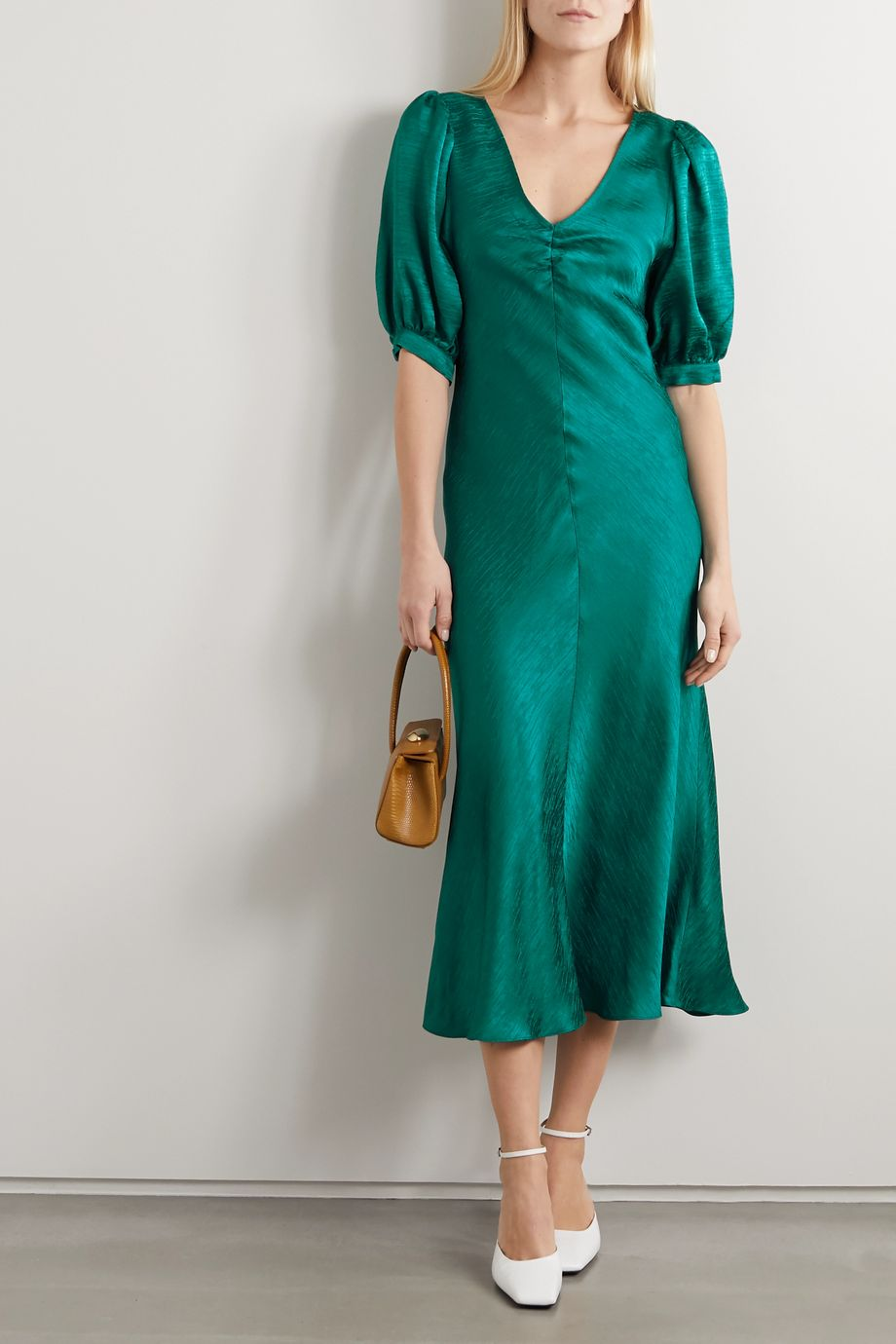 Vanessa Bruno Netty gathered satin-jacquard midi dress