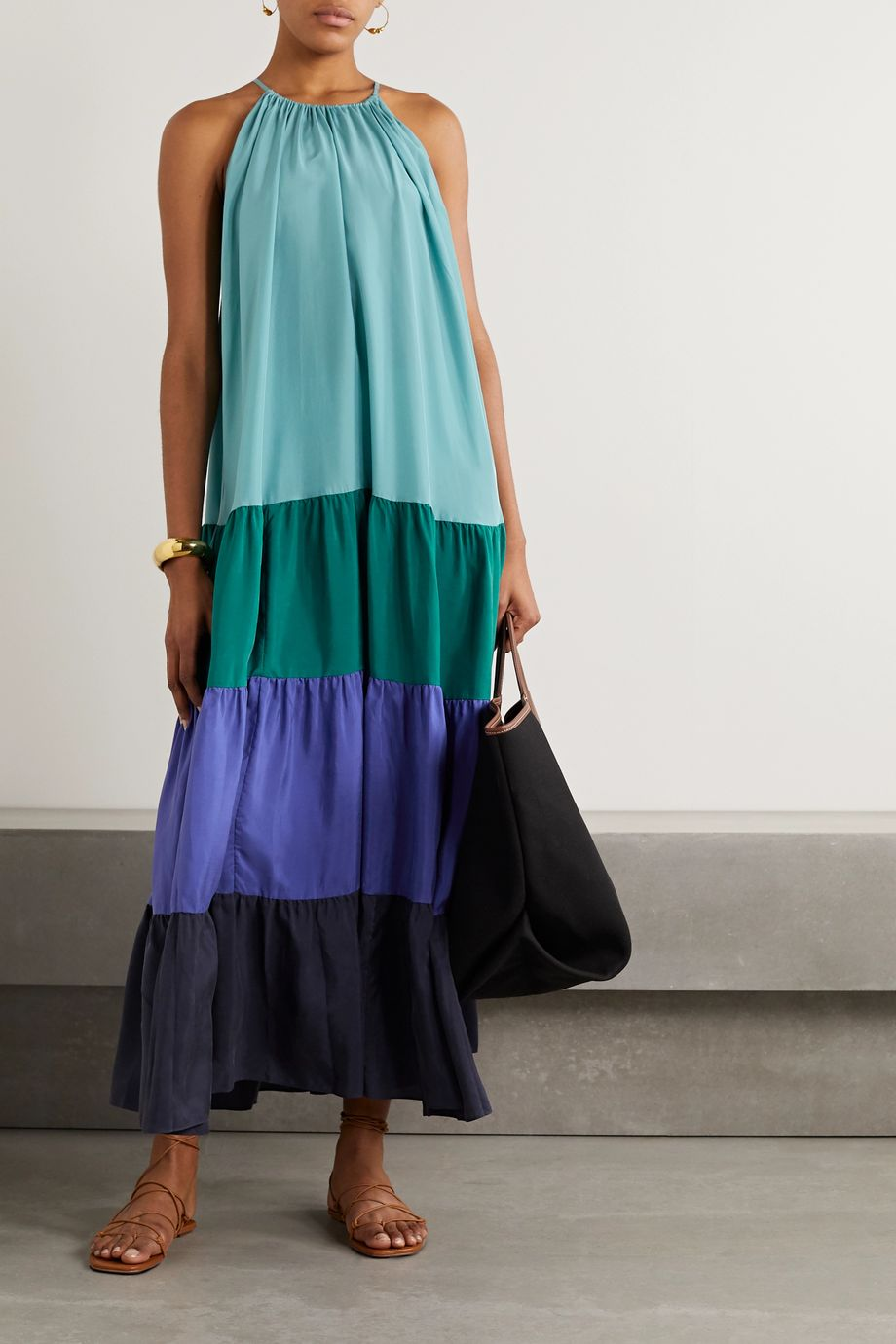 Vanessa Bruno Nuccia tiered color-block washed silk-satin maxi dress