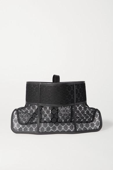 Loewe Obi Lace-trimmed Leather Corset Belt In Black