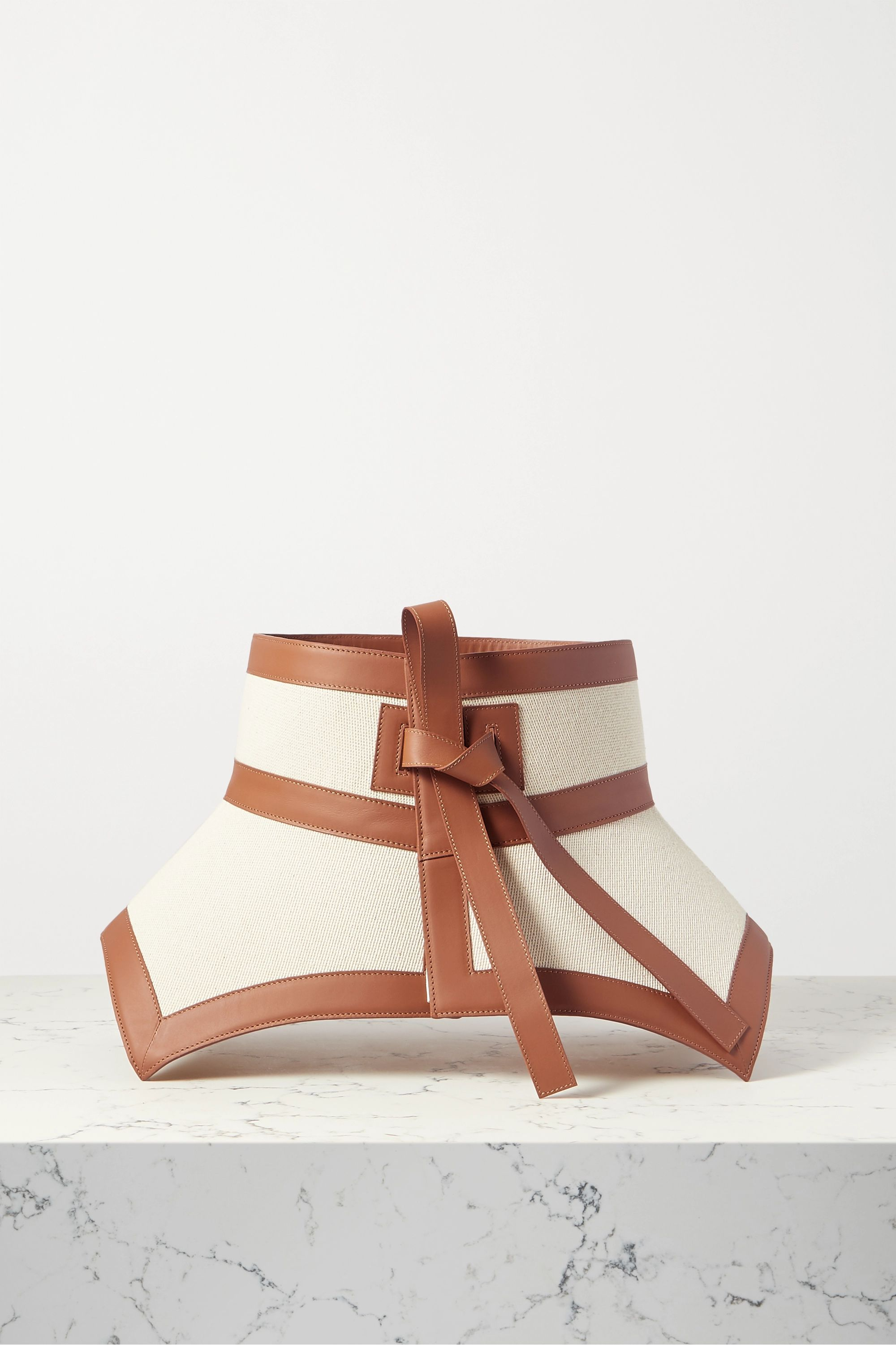 Loewe Leather-trimmed cotton-canvas waist belt