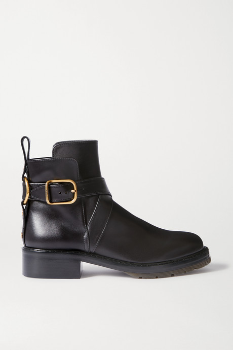 Black Buckled leather ankle boots | Chloé 331mbg