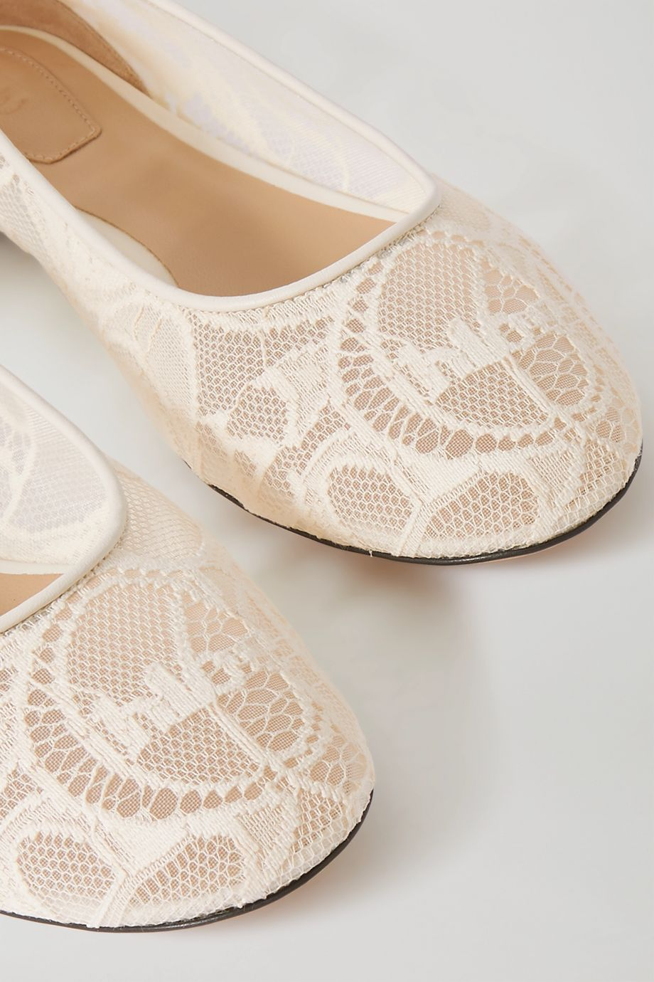 Chloé Lauren leather-trimmed logo-embroidered lace ballet flats