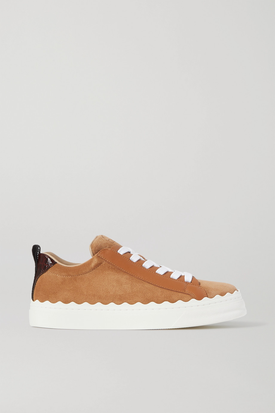Chloé Lauren scalloped leather-trimmed suede sneakers