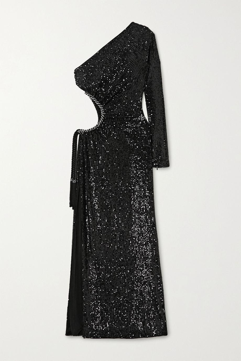 Dundas One-shoulder cutout embellished crepe gown