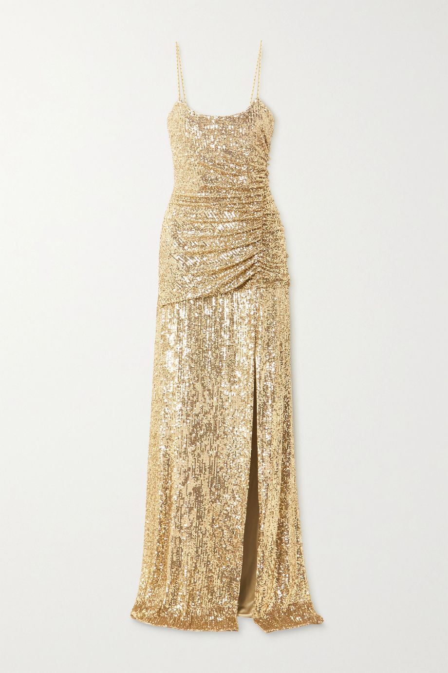 Dundas Ruched sequined stretch-jersey gown